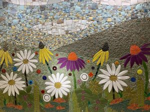 A picture of a mosaic of flowers.