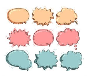 Different shapes of thought bubbles.