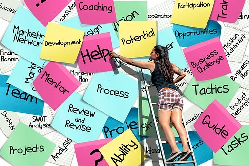A girl standing on a ladder putting up stickies that say inspirational words.