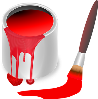 A red paint can and paint brush graphic.
